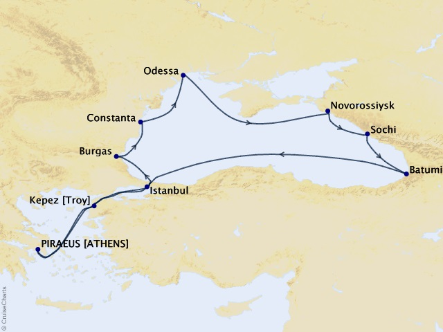 13-night Black Sea Explorer Cruise Map
