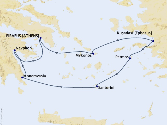 7-night Treasures of the Greek Isles Cruise Map