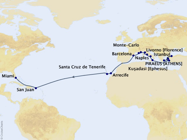 26-night Ancient Ruins of Greece & Rome Cruise Map