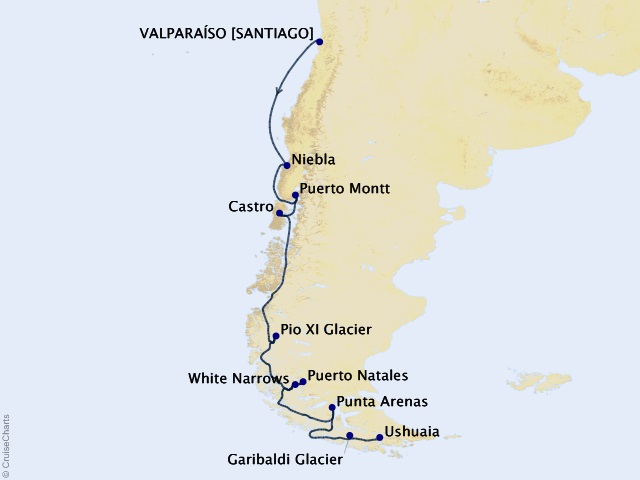 12-night South America Expedition Cruise Map