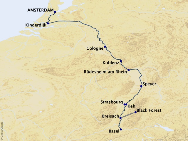 7-night Rhine Getaway Cruise Map