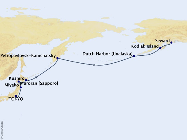 14-night Transoceanic Cruise Itinerary Map