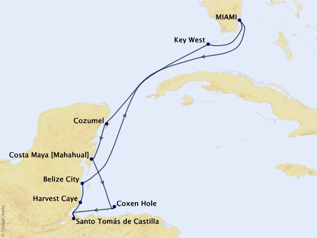 10-night Myths, Mayans, and Marinas Voyage Map