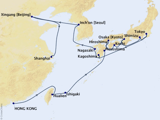 24-night Grand Journey – Japan & China Cruise Map