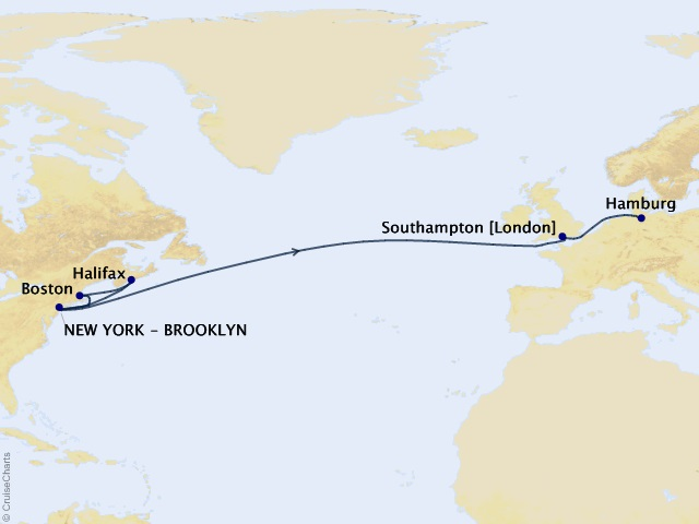 15-night Transatlantic, New England, and Canada Cruise Map