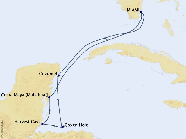 7-night Tropical Retreats Voyage Map