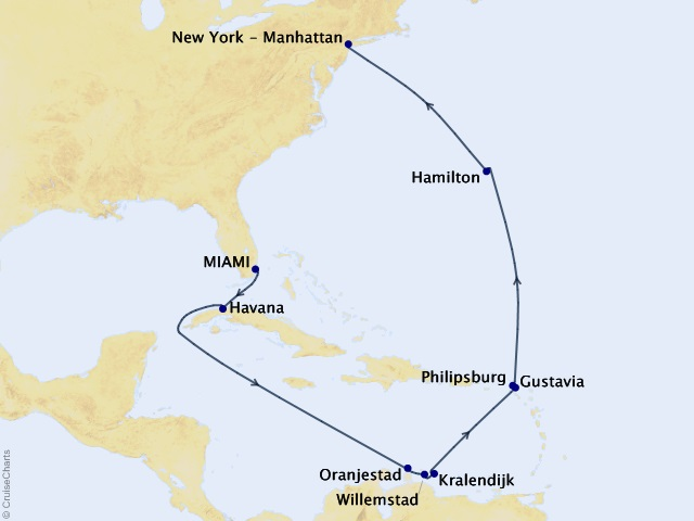 Cuba & the Caribbean Voyage Map