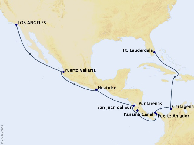 15-night Panama Canal – Ocean to Ocean Cruise Map