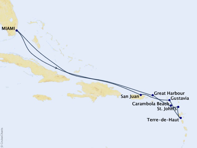 11-night Gems of the Leeward Islands Cruise Map