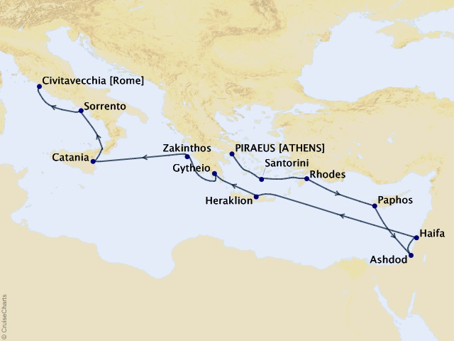 14-night Historical Treasures Voyage Map