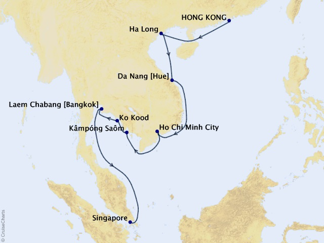 14-night Vietnam & Thailand Cruise Map