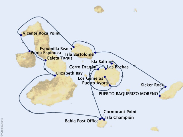 7-night Galápagos Islands Expedition Cruise Map