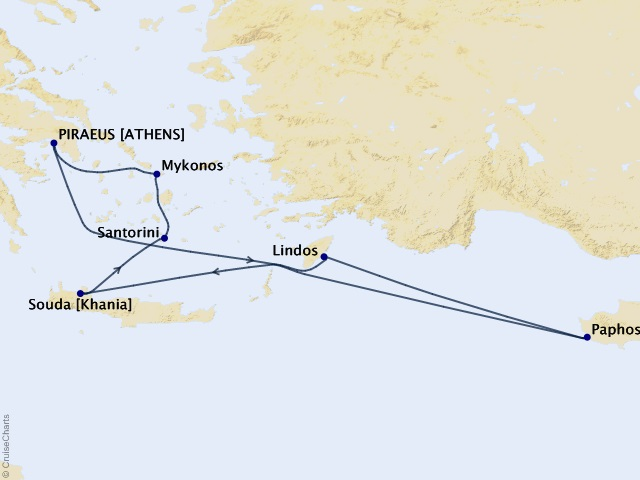Greek Isles Fantasy Cruise Map