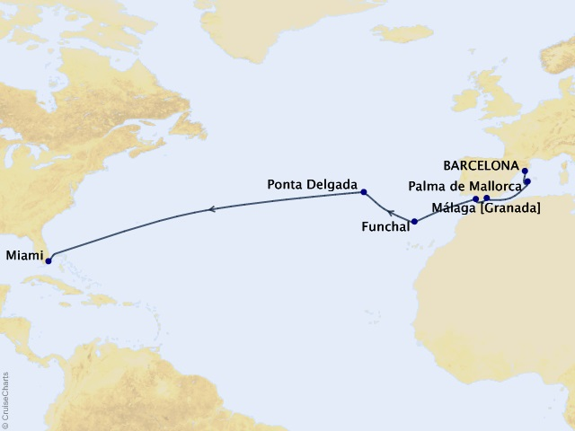 14-night Transatlantic Cruise Map