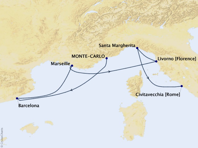 7-night Castles & Cathedrals Cruise Map