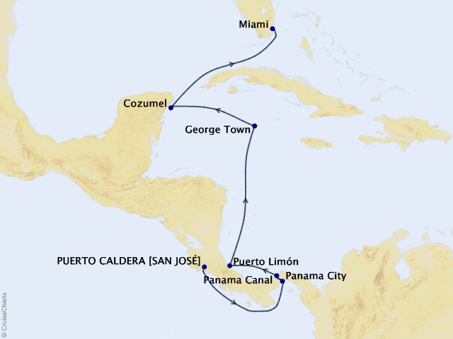 10-night Panama and Tropical Playgrounds Cruise Map