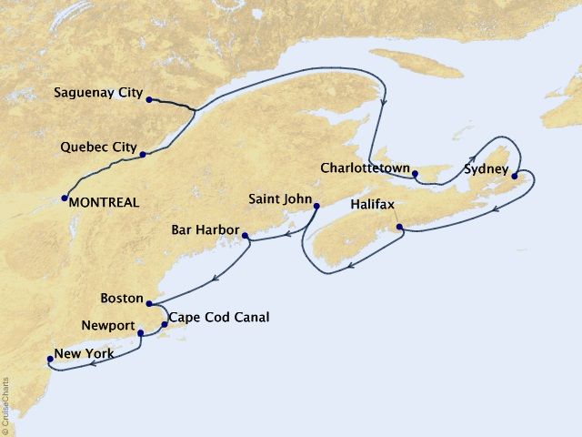 12-night Rustic Acadia & Beyond Cruise Map