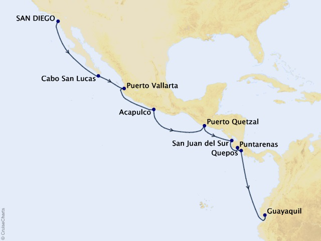 15-night Central America Cruise Itinerary Map