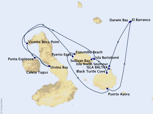 7-night Galápagos Northern Loop Cruise Itinerary Map