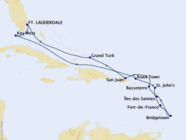 14-night Caribbean Cruise Map