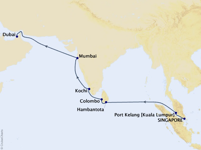 15-night Sri Lanka and India Voyage Map