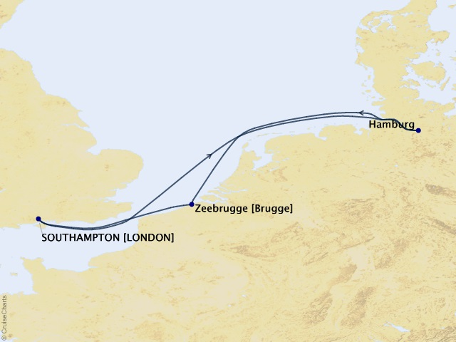 7-night Hamburg, Amsterdam, & Bruges Cruise Map
