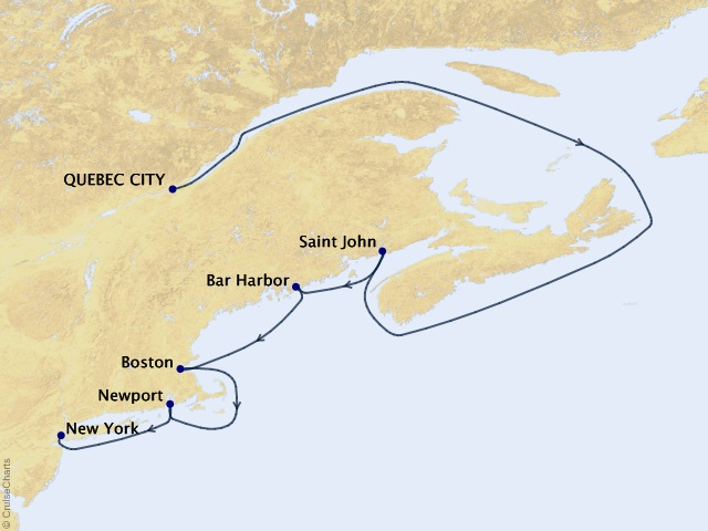 8-night Autumn in the Maritimes Cruise Map