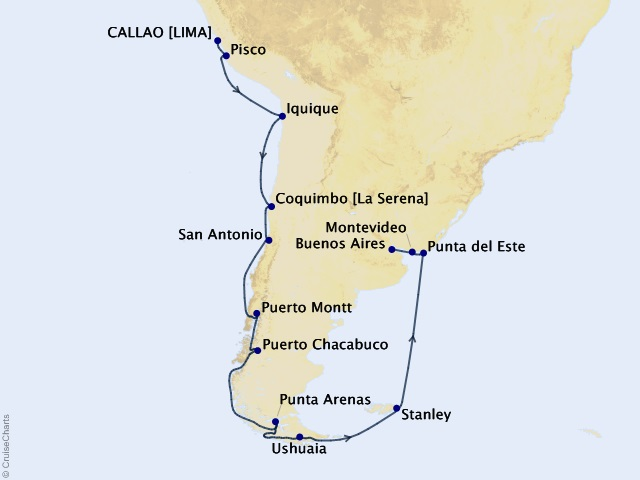 21-night Lima (Callao) to Buenos Aires Cruise Map