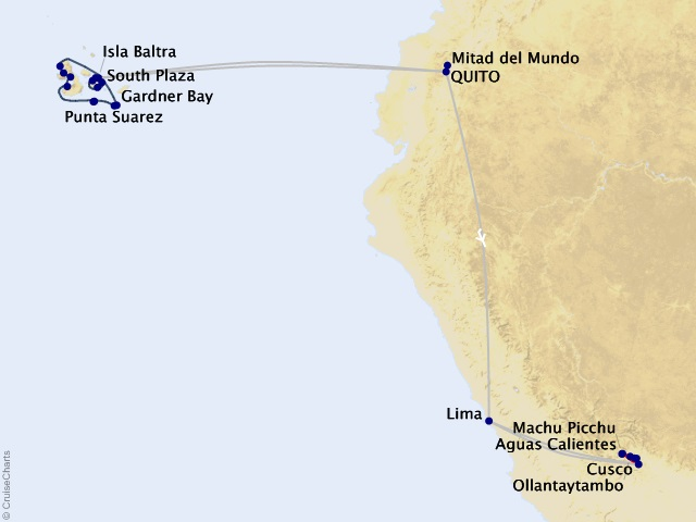 16-night Galápagos Outer Loop & Machu Picchu Cruisetour Map