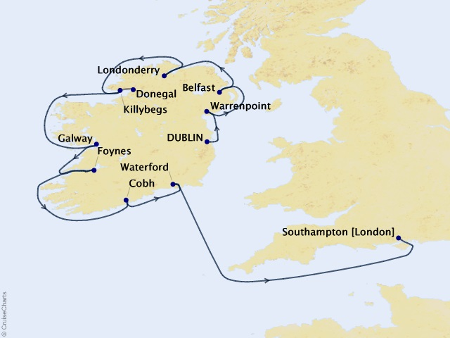 12-night Ireland Intensive Voyage Map
