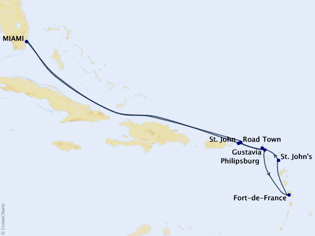 11-night Boutique Caribbean Cruise Map