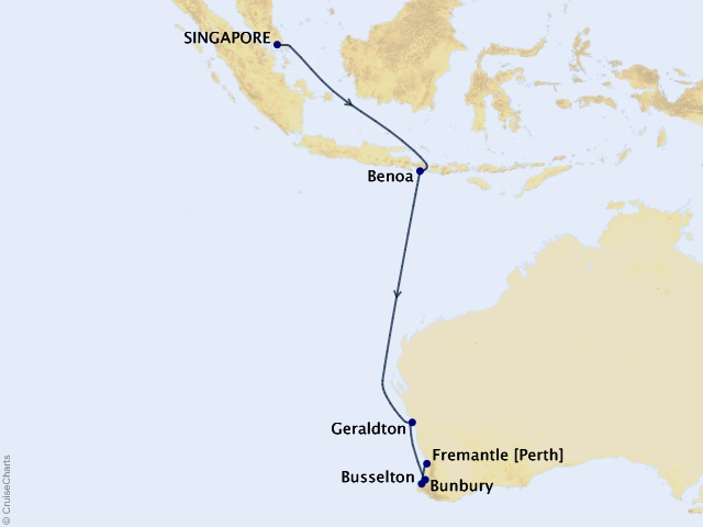 12-night Bali and Western Australia Cruise Map
