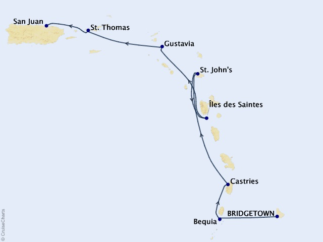 7-night Eastern & Southern Caribbean Cruise Map