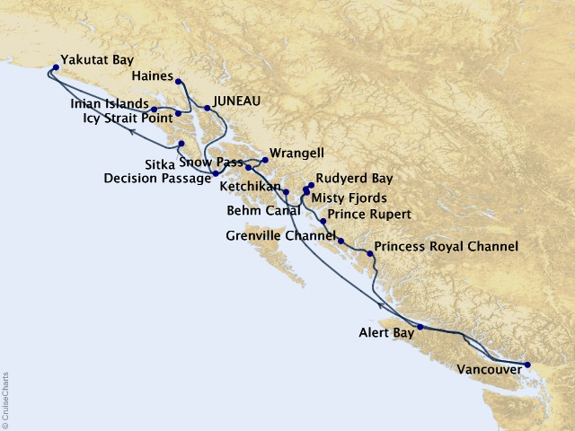 14-night Canadian Inside Passage, Alaska Fjords, & Glaciers Cruise Map