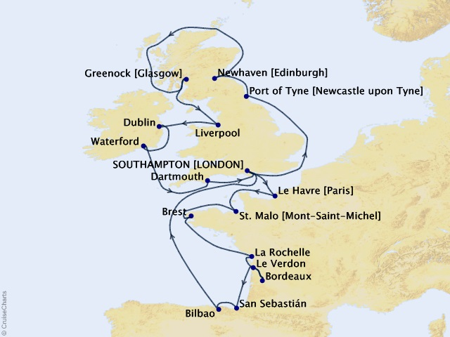 20-night British Isles and Beyond Voyage Map