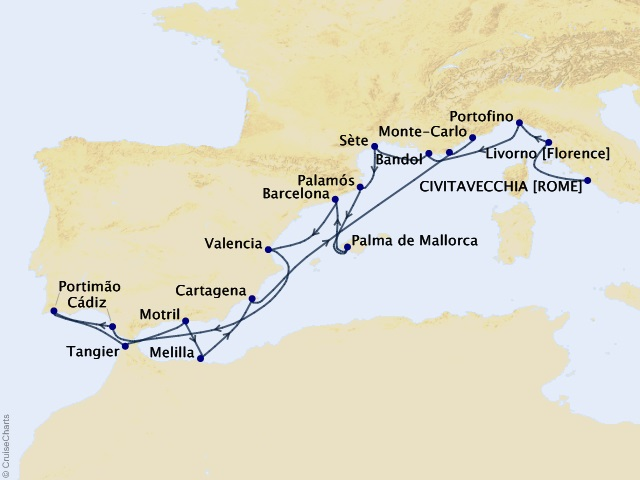 18-night Italian Gems & Spain Cruise Map
