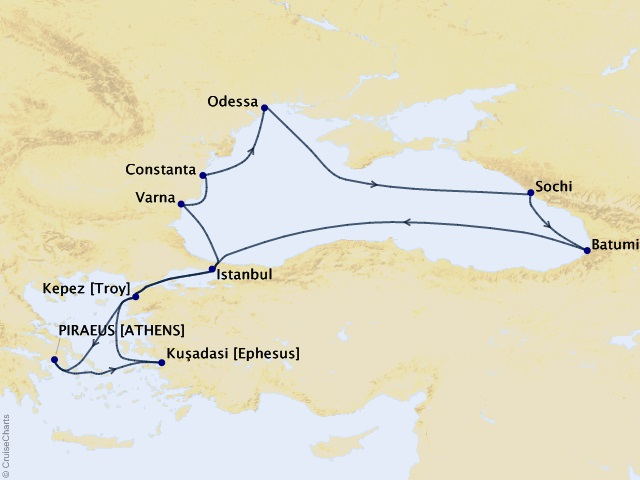 14-night Black Sea Voyage Map