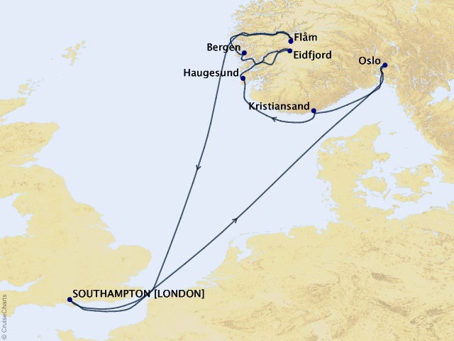 12-night Norway Intensive Voyage Map
