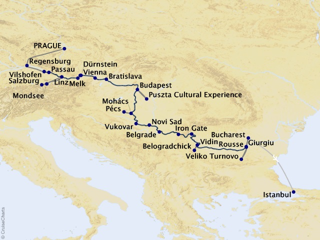 20-night Grand Danube Cruise/Land Package Map