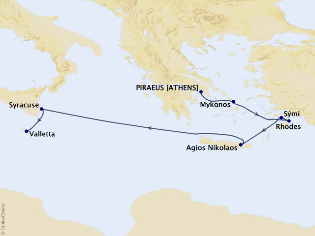 Greek Isles & Maltese Magic Cruise Map