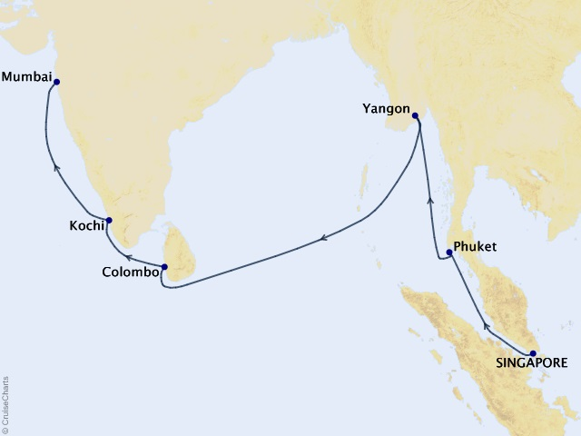 15-night Africa & Indian Ocean Cruise Map