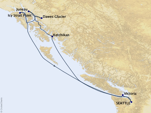7-night Alaska Roundtrip Seattle – Dawes Glacier, Juneau, and Ketchikan Cruise