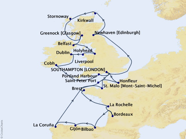 24-night The Culture & Castles of Scotland Cruise Map
