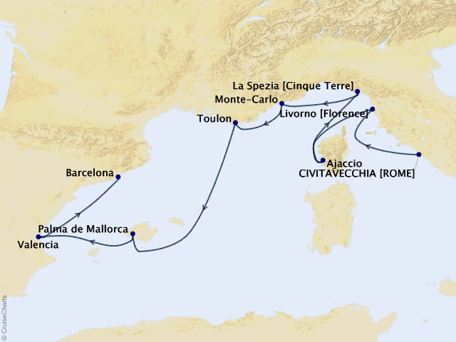 10-night Lovely Mediterranean Cruise Map