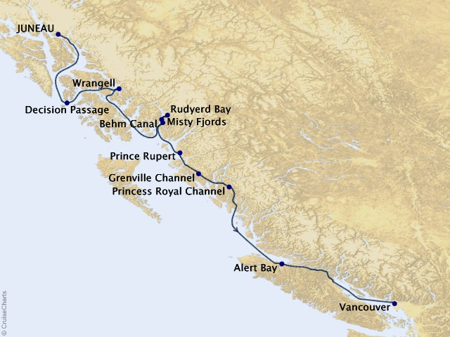 7-night Alaska Fjords & Canadian Inside Passage Cruise Map