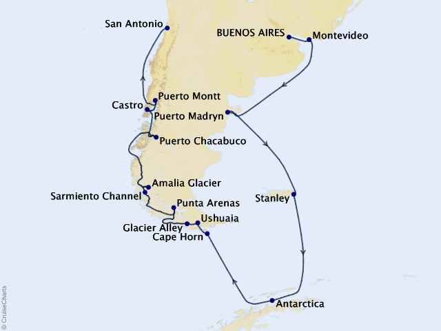 22-night South America and Antarctica Holiday Cruise