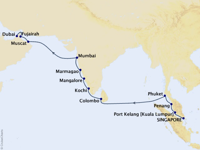18-night Golden Sands & Sapphire Skies Cruise Map