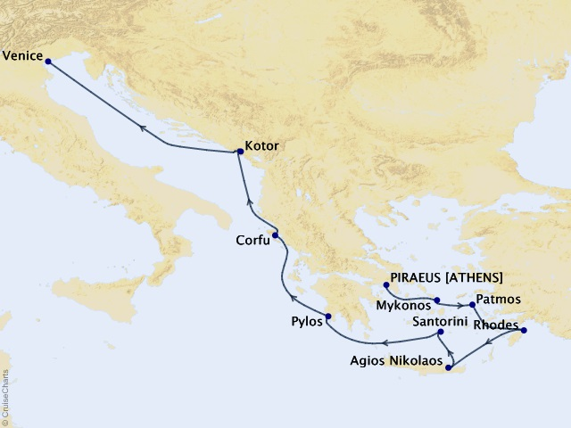 10-night Greece Intensive Voyage Map