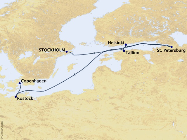 7-night Baltic Marvels Voyage Map