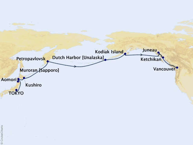 18-night Transoceanic Cruise Itinerary Map